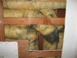 Duct Leakage Darkened Insulation